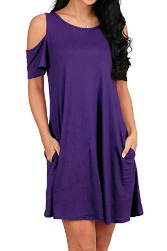 OFEEFAN Women's O Neck Cold Shoulder Off T-Shirt Loose Tops Dress Purple L