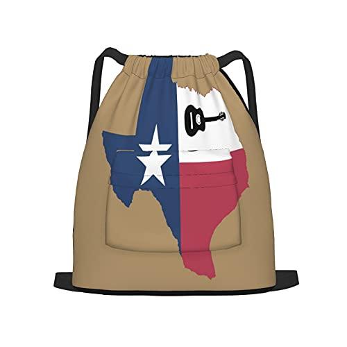 Zaino sportivo con coulisse,Chitarra texana, Zaino da palestra per borsa a tracolla da campeggio da viaggio per uomo, donna, bambino.