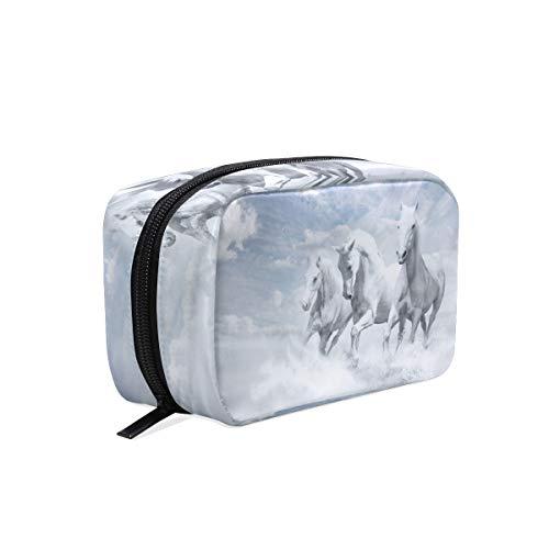AJINGA Blanco Caballos Cielo Nube Bolsa de Cosméticos Cremallera Neceser Bolsa de Viaje para Señoras Cuadrado Maquillaje