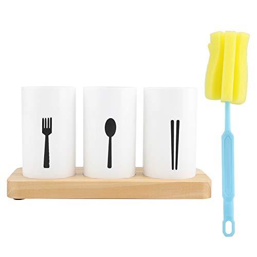 Chopsticks Holder MAGT Oak Wooden Base Cutlery Storage Box Drain Rack for Kitchen