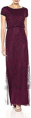 Adrianna Papell Women's Short Sleeve Beaded Blouson Gown