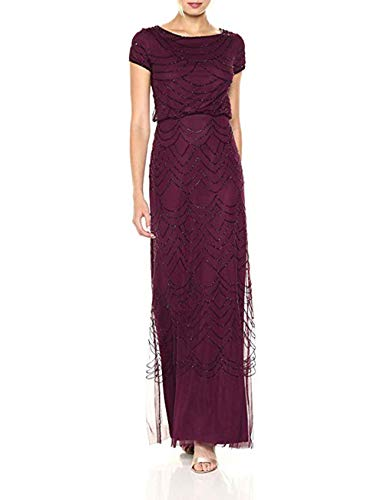 Adrianna Papell Women's Short Sleeve Beaded Blouson Gown, Cassis, 18 (Apparel)