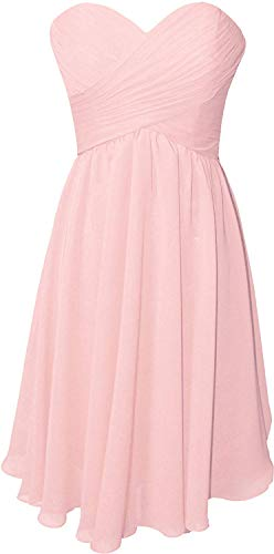 OkayBridal Women's Strapless Short Bridesmaid Dresses Blush Sweetheart Chiffon Pleat Formal Party Gowns Knee Length Size 4