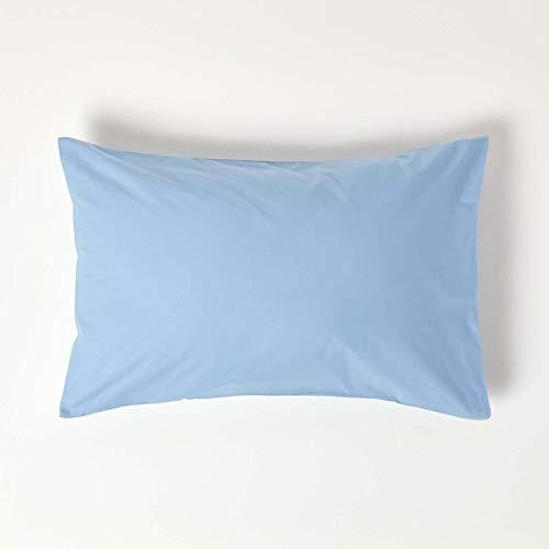 Homescapes Funda de almohada Estandar estilo-Housewife-50 x 75 cm de color Azul en 100% algodon egipcio densidad de 60 hilos/cm²