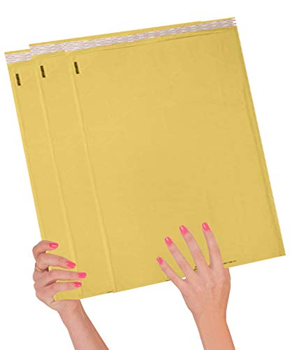 ABC Pack of 10 Gold Kraft Bubble Padded Envelopes 14.25 x 19 Kraft Bubble Peel and Seal Envelopes Yellow Kraft Bubble Mailers 14 1/4 x 19 Shipping Bags for Mailing Packing Packaging Wholesale Price