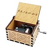 Cool Stuff Wooden Hand Cranked Collectable Engraved Unique & Antique Music Box Portable Vintage Hand Carved Crank Lever Musical Box Music Lover Giftable Item Music Box F.R.I.E.N.D.S Tune