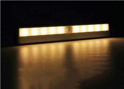 Armario de luz Sensor de movimiento Barra de luz LED Inducción Gabinete Luz Pasillo infrarrojo humano Control de luz nocturna 10led Recargable (Color : 6led Battery-Warm light)