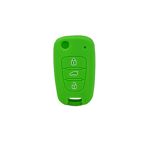 1neiSmartech Guscio Cover In Silicone Colore Per Protezione Scocca Telecomando Chiave 3 Tre Tasti Auto Hyundai I10 I20 I30 Ix20 Ix35 Elantra Vari Colori (Verde)
