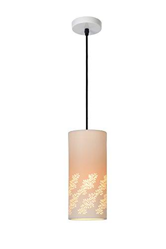 Lucide 13450/01/31 Sinan Suspension, Céramique, E27, 40 W, Blanc, Noir, 140 x 12 x 140 cm