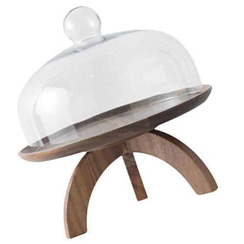 Cabilock Holz Kuchenständer Hochzeitstorte Sockel Cupcake Server mit Kuppel Party Kuchen Tablett Kuchenplatte Fuß Rund Holz Server Dessert Teller für Kuchen Dessert