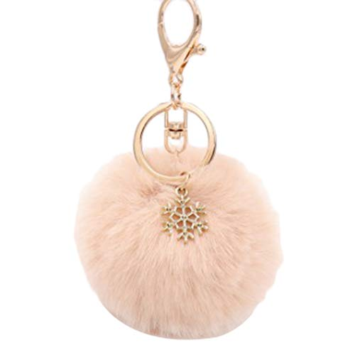 Jingyuu Schlüsselanhänger für Damen, Bommel, Dekoration, Anhänger für Autoschlüssel/Telefon/Rucksack/Handtasche/Auto/Schlüsselanhänger (Wapiti) 8 cm Flesh Color