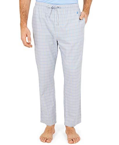 Nautica Men's Soft Woven 100% Cotton Elastic Waistband Sleep Pajama Pant, Grey, Large
