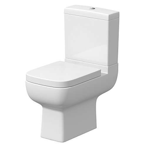 Affine Modern Toilet Close Coupled WC Soft Close Seat Short Projection Square Bathroom Cloakroom