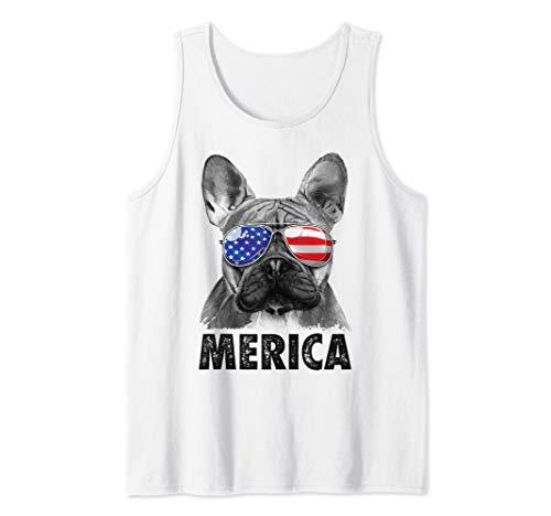 French Bulldog 4th of July Shirts Merica Men Women USA Flag Tank Top