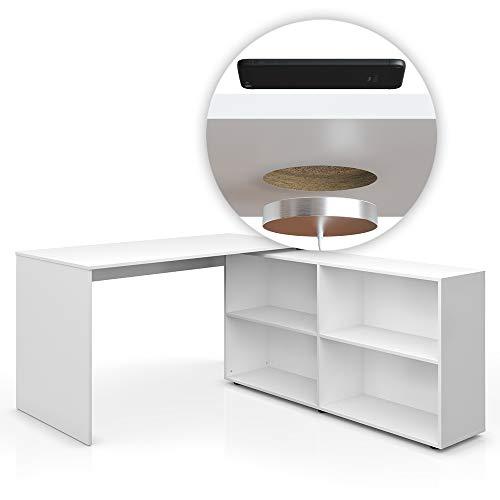 Vicco Eckschreibtisch FlexPlus Schreibtisch Computertisch PC Bürotisch Büro Winkelschreibtisch 90-180° / 137 x 75 cm/Sonoma Eiche, Weiß (Weiß mit QI Ladestation)