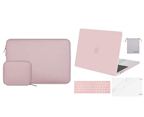 MOSISO Plastic Hard Shell Case&Laptop Sleeve&Keyboard Cover&Screen Protector&Storage Bag, Compatible with MacBook Pro 15 inch 2019 2018 2017 2016 Release A1990 A1707 Touch Bar, Rose Quartz