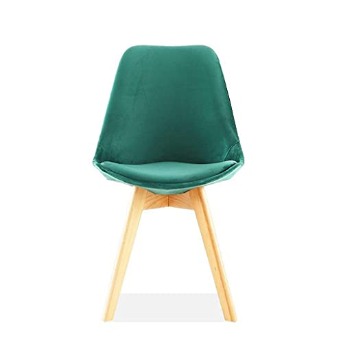 YQG Flannel Dining Table and Chair, Bar Lounge Cafe Chair Nordic Plastic Wooden Legs Simple Chair (2 Pcs) (Color : Green)