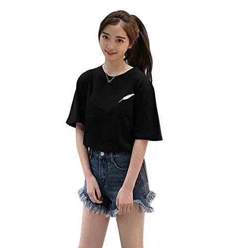 Thriving-Hong - Camiseta de manga corta para mujer, cuello redondo, bordado de plumas