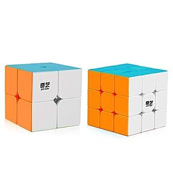 Coogam Qiyi Speed Cube Bundle 2x2 3x3 Magic Cube Set Qidi s 2x2 Warrior W 3x3 Stickerless Puzzle Toy Pack