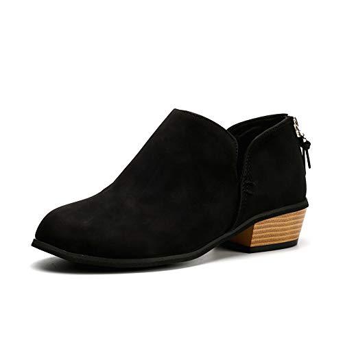 Hafiot Chelsea Boots Stiefeletten Damen Kurzschaft Leder Kurze mit Absatz Ankle Boots Winter Reissverschluss Bequem Stiefel 3cm Beige Rosa Grau 35-43 BK35