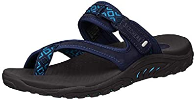 Skechers Women's Reggae Trailway Flip Flop, Navy/Blue, 6 M US