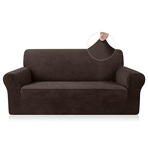 TAOCOCO Funda de sofá Funda de sofá de Terciopelo Mantas de sofá Funda de sofá elástica Fundas de sofá para Sala de Estar (Marrón, 2 Plazas)