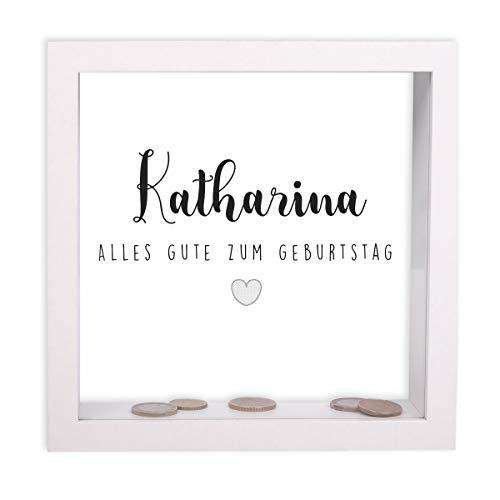 FORYOU24 Bilderrahmen-Spardose zum Geburtstag personalisiert Motiv 04 mit Druck des Namens Geburtstagsgeschenk Geldgeschenk Weiss 20x20x5cm