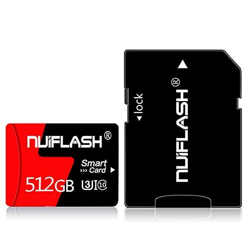 Tarjeta Micro SD de 512 GB, tarjeta de memoria de 512 GB, tarjeta TF de clase 10, alta velocidad, con adaptador para cámara, teléfono, ordenador, Nintendo Switch, Dash Came, Vigilancia, dron