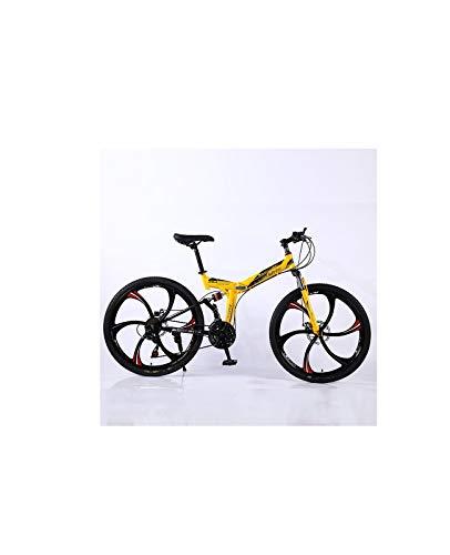 LORT VTT 21 Vitesses vélo 26 Pouces Hommes VTT Freins à Disque Noir/Jaune 3/6 rayonsyellow2