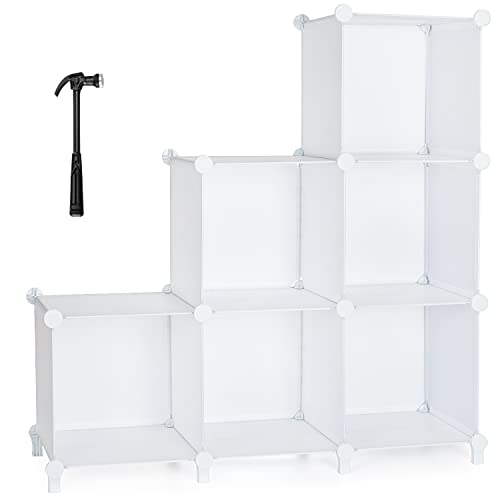 Kootek 6 Cube Storage Organizer Closet Storage Shelves, DIY Plastic Modular Storage Cubes with Mallet, 22lbs Upgraded Waterproof Panel for Home, Office, Living Room, Bedroom, White