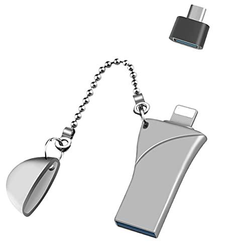 Memoria USB para iPhone Pulgar Drive, Memoria externa USB 3.0 PhotoStick para iPhone, iPad, Mac, teléfonos Android y ordenadores (128 GB, plata)