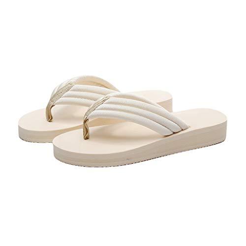 Simple y cómodo tirón flopes del Verano Inferior Grueso Zapatillas de Playa for Las Mujeres Cómodo (Color : Beige, Size : 35)