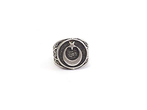 Gök-Türk Ring für Herren 'Halbmond mit Stern' Ay Yildiz - verstellbare Größe