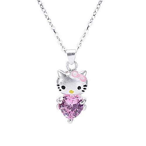 WEIKAI Collar para mujer rosa amor corazón corazón corazón diamante gato colgante Hello Kitty collar dulce y dulce gato clavícula cadena