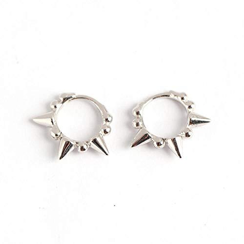 Pendientes925 Pendientes de aro geométricos de plata de ley para las mujeres de la moda de la fiesta de joyería fina accesorios punk regalo plata