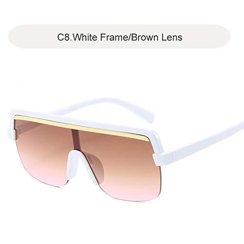 Modische Sonnenbrille Vintage Übergroße Quadratische Sonnenbrille Frauen Luxus Retro Schwarzen Rahmen Sonnenbrille Frauen Brille Uv400 C8Weiß-Braun
