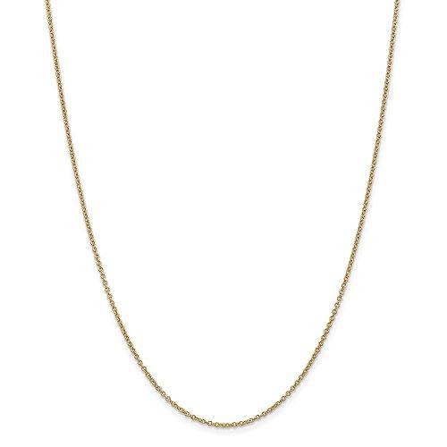 Diamond2deal 14K giallo oro 1.3mm cavo catena collana 61cm