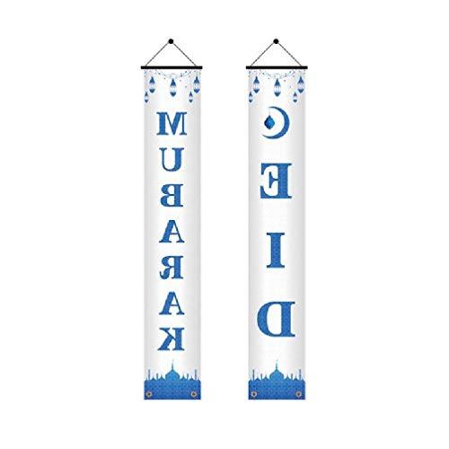 2 Unids / set Eid Mubarak Porche Banner Ramadan Kareem Mezquita Puerta de entrada Cortina Bandera Letrero colgante Fiesta musulmana islámica Suministros de decoración Eid Mubarak Porche Banner