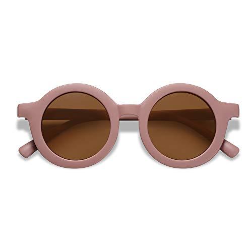 SOJOS Gafas de sol polarizadas redondas para niños, niñas, niños, protección UV400, gafas de sol para vacaciones en la playa, rojo oscuro/café, S