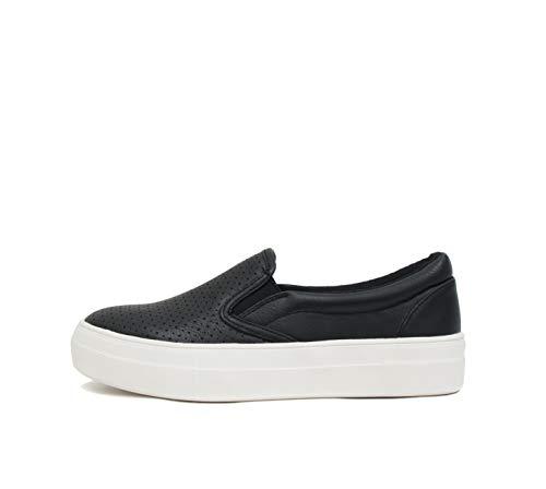 Soda Croft ~ Slip On Perforated Double Layer Foam Padded Cushion Sock Fashion Sneakers (8, Black (PU))