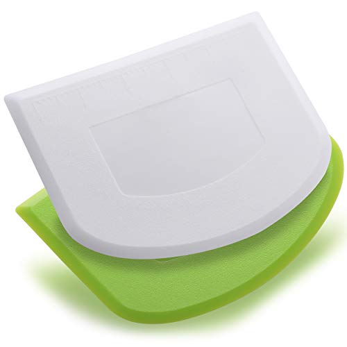 Prodine Dough Scraper Pack of 2 Dual Sided, Flexible and Food Grade Plastic Bowl Scraper for Bread, Pizza, Pastry with Measurements – Cream Smoother for Bakers - Green & White