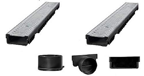 Bielbet Entwässerungsrinne h= 55mm 18,25€/m 2 m Set inkl.Endkappen und Anschlussstück DN110