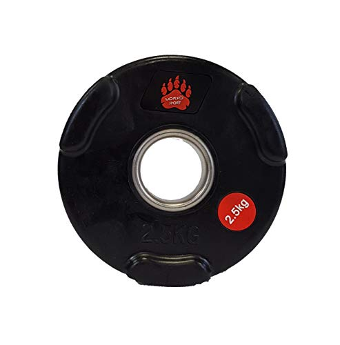LORSOSPORT Olympic Plates Tri Grip Weight Rubber Oplimpic Plate Disc Portabel Weight Plate 2' Barbell weights 1.25kg 2.5kg 5kg 10kg 15kg 20kg
