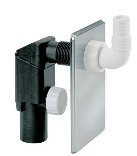 Siphonly - Sifón de lavadora de alta calidad | sifón empotrado | Tapón antiolores para lavavajillas | Conector DN 40/50 | con placa de cubierta cromada de 150 x 90 mm