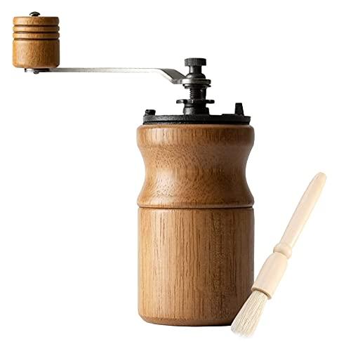 NULIPINBO Molinillo de Madera de café Manual con asa,Molinillo de manivela de Mano portátil,máquina automática de café Espresso Color Burr:(Tronco de Color Claro) HéLice