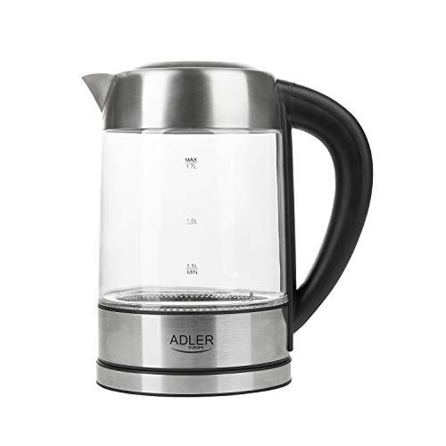 ADLER AD 1247 Wasserkocher aus Edelstahl und Glas, 1,7L, 2200 W, digitaler Glaswasserkocher mit Temperaturwahl 60-100C°, LED Beleuchtung mit Farbwechsel, Kalkfilter