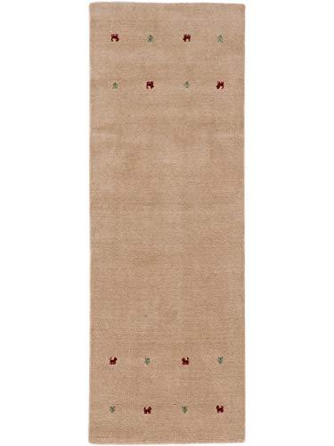 CarpetFine: Wolltepich Gabbeh Uni Läufer 80x300 cm Beige - Einfarbig