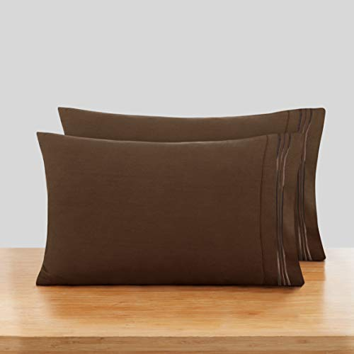 Nestl Solid Microfiber King 20 x 40 Inches Pillowcases, Chocolate Brown (Set of 2)