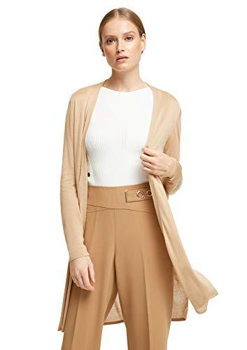 comma Damen Lange Jacke aus Feinstrick light camel S
