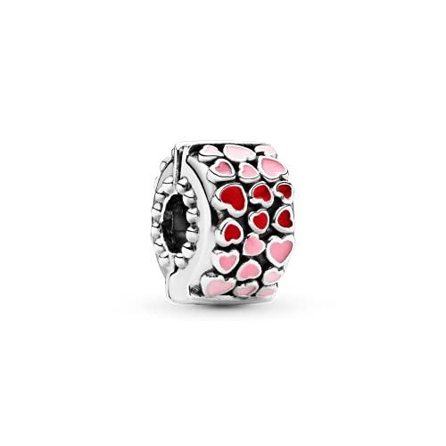 Pandora 925 plata esterlina colgante Charms rojo y rosa corazones encanto Fit pulsera joyería